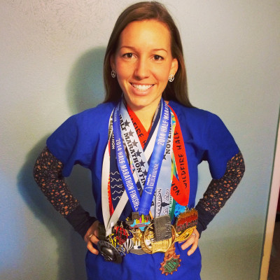 Ashley loves to run. In 2014, I completed 12 half-marathons - one for each month.