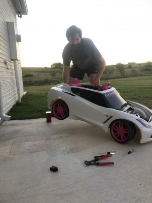 Ryan loves to work on cars and trucks. He even suped-up our kids play car to make it go faster so they could do burnouts. LOL