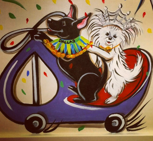 Dallas and Jynx have a painted mural at Janet's pediatric hospital which is a part of the dog parade where kids go through for surgery