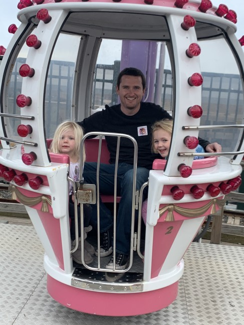 Uncle Matt going on a ride with two of the cutest little loves!