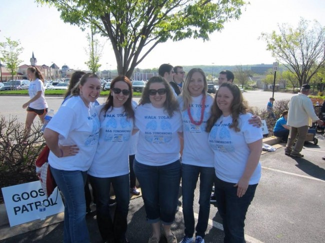 Amy and the girls at a charity walk.