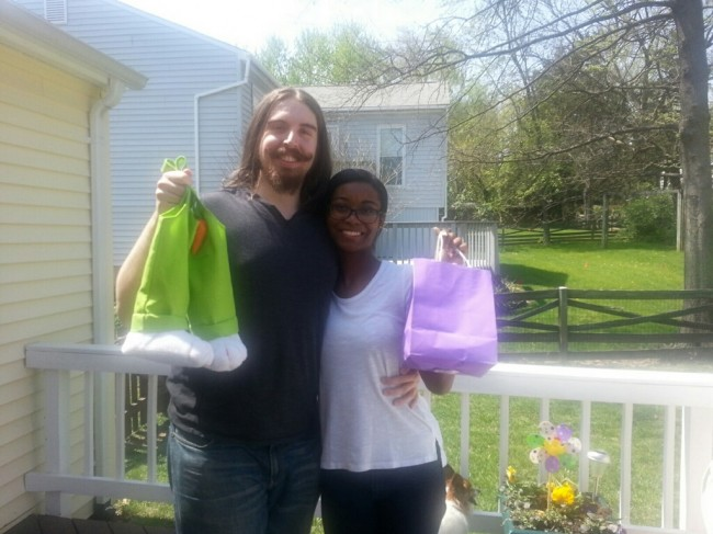 Amy's brother and sister in law holding up their Easter baskets! We love doing egg hunts each year.