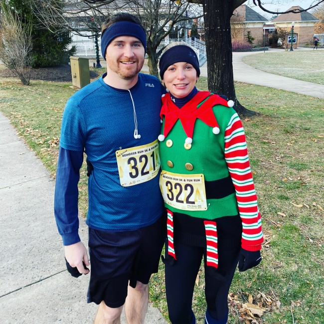 Reindeer Run together. It was 29 degrees out and Matt wore shorts!