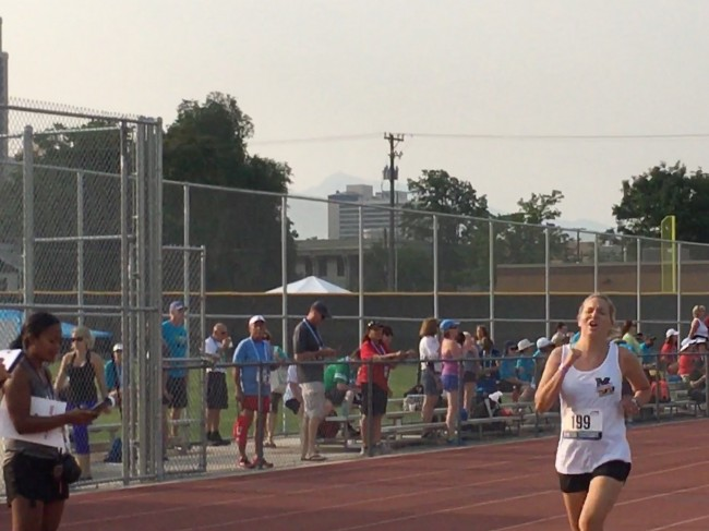 Amy running her hardest during a 1500M race at Transplant Games of America.