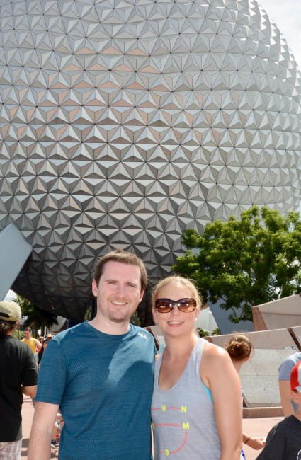 In front of the Epcot ball.