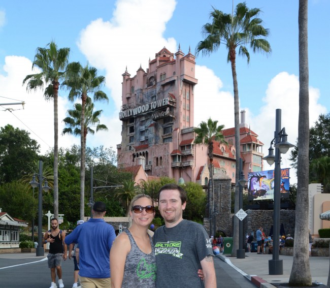 In front of the Tower of Terror at Hollywood Studios.