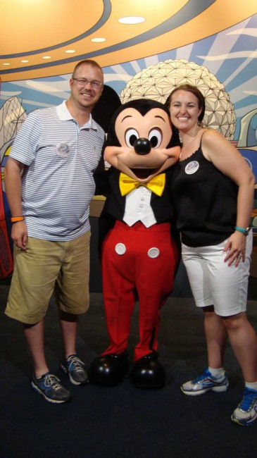 Honeymoon photo with our favorite mouse.