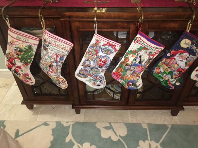 Meaghan has cross-stitched stockings for everyone on her side of the family - including one for the next addition.