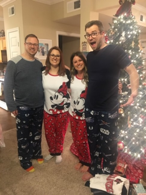 PJ's are a traditional gift on Meaghan's side of the family, and both sides always wear PJs while opening gifts, after church, on Christmas Eve.