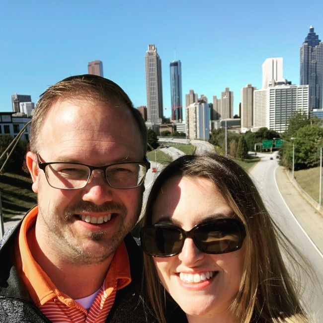 Meaghan surprised David with a birthday trip to Atlanta in 2019.