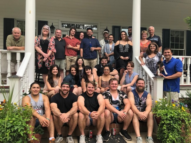 After Stephen's brother, Alex, got engaged to Kellie, we all got together for an engagement bbq that was hosted by Kellie's family. Can you tell the boys in the front row play rugby?
