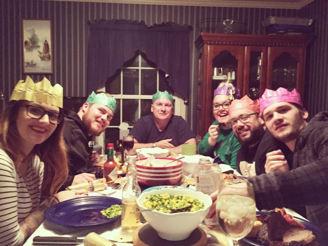 Christmas dinner at Stephen's dad's house always includes us all wearing our paper crowns that come in our Christmas crackers.
