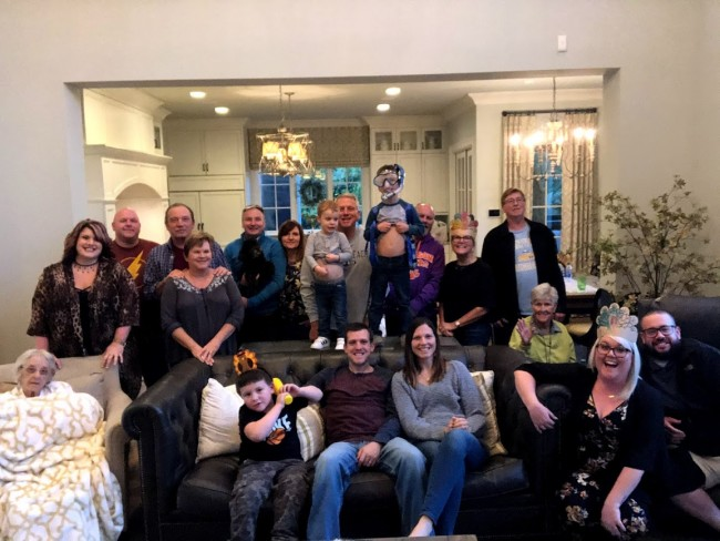 Thanksgiving 2019 at Alex's parent's house. There are grandparents, nephews, step-siblings, aunts, and uncles in this picture. The food is always good but the company is better :)