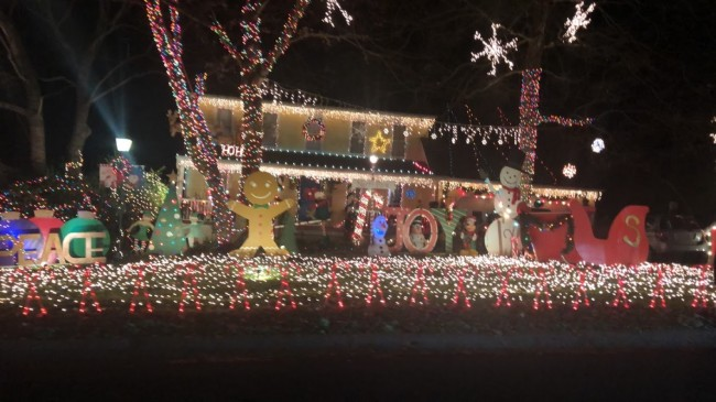 During the holiday season, we love to drive around and look at Christmas lights. This is our favorite house in town!