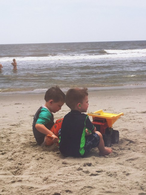 Boys love to dig in the sand and these two, Noah and Anderson, can't get enough of it!