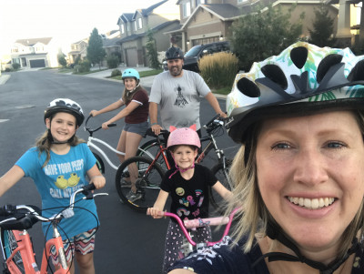We have a great neighborhood to ride our bikes around. We love going to the top of the hill and gliding down!
