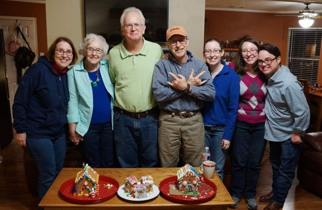 Laura's family at the annual 'gingerbread wars' celebration hosted by a friend.