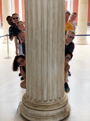 Traveling with friends.  Our cruise crew over in Athens having some fun!