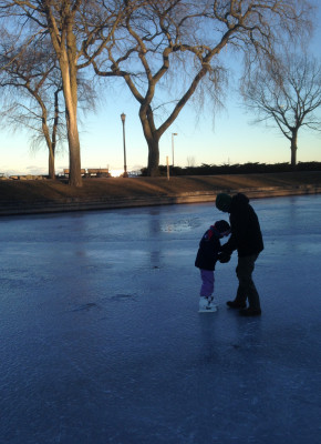 Ice skating by the lakefront