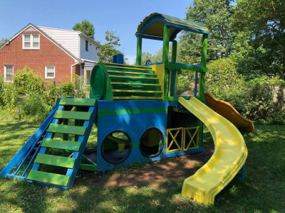 Building things- this is the playground Lauren designed so our son has a fun place to play during the pandemic.
