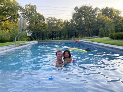 We LIVE in our pool in the summer! Miles loves the water & learned to swim just after he turned two. He's our little fish!