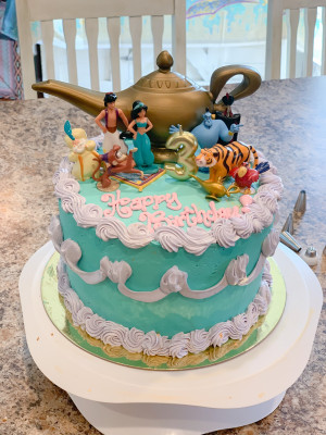 Sean was a cake decorator for 8 years and makes the girls their requested birthday cake every year!