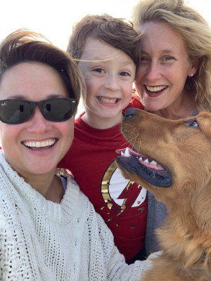 We love to take beach walks with our cuddly puppy named Tucker.  We live just a mile from the beach, so this is a Saturday favorite